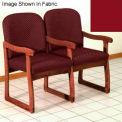 Double Sled Base Chair w/ Arms - Mahogany/Burgundy Vinyl