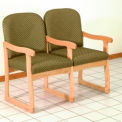Double Sled Base Chair w/ Arms - Light Oak/Olive Arch Pattern Fabric