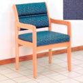 Guest Chair w/ Arms - Light Oak/Blue Fabric