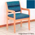 Guest Chair w/ Arms - Light Oak/Blue Vinyl