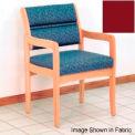 Guest Chair w/ Arms - Light Oak/Burgundy Vinyl