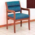 Guest Chair w/ Arms - Medium Oak/Burgundy Fabric
