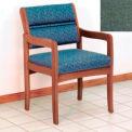 Guest Chair w/ Arms - Medium Oak/Green Fabric