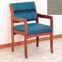 Guest Chair w/ Arms - Medium Oak/Gray Fabric