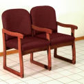 Double Sled Base Chair w/ Arms - Mahogany/Burgundy Arch Pattern Fabric