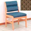 Guest Chair w/o Arms - Light Oak/Khaki Arch Pattern Fabric