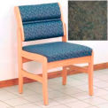 Guest Chair w/o Arms - Light Oak/Green Water Pattern Fabric