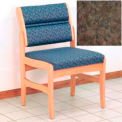 Guest Chair w/o Arms - Light Oak/Earth Water Pattern Fabric