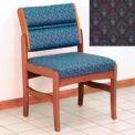 Guest Chair w/o Arms - Medium Oak/Blue Arch Pattern Fabric