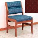 Guest Chair w/o Arms - Medium Oak/Burgundy Arch Pattern Fabric