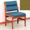 Guest Chair w/o Arms - Medium Oak/Olive Arch Pattern Fabric