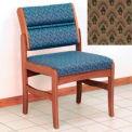 Guest Chair w/o Arms - Medium Oak/Khaki Arch Pattern Fabric