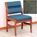 Guest Chair w/o Arms - Medium Oak/Green Water Pattern Fabric