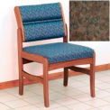 Guest Chair w/o Arms - Medium Oak/Earth Water Pattern Fabric