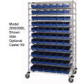 18x60x74 Chrome Wire Shelving With 88 Shelf Bins Blue