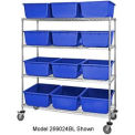 "18x36x69 Mobile Chrome Wire Truck With 24 8""H Cross  Stack Nest LugTotes Blue"