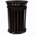 Metal Trash Can with Sliding Door Access & Flat Lid - Black