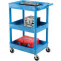 Luxor Blue 3 Shelf Tray Shelf Plastic Cart 24 x 18