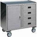 Stainless Steel Mobile Cabinet with 1 Door & 4 Drawers 36 x 18 1200 Lb Cap