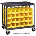 "36X24X35-1/2 Mobile Bin Cart With 16 10-3/4""d Stacking Bins Yellow"