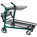 Retractable Tray Top Shelf Lawn & Garden Shopping Cart Dark Green