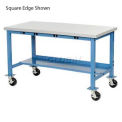 """72""""W x 30""""D Mobile Packaging Workbench with Power Apron - ESD Laminate Safety Edge - Blue"""
