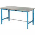 "72""W x 30""D Lab Bench with Power Apron - Stainless Steel Square Edge - Blue"