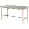 """72""""W x 30""""D Lab Bench with Power Apron - Stainless Steel Square Edge - Tan"""