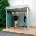 "Bus Smoking Shelter Deluxe Flat Roof With Three Sided Open Front 8'9"" x 7'9"""