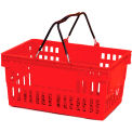 Red Plastic Basket 26 Liter with Black Plastic Grips Wire Handle