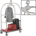 "Silver Stainless Steel Bellman Cart Curved Uprights 6"" Rubber Casters"