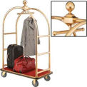 "Gold Stainless Steel Bellman Cart Curved Uprights 6"" Rubber Casters"