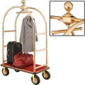 "Gold Stainless Steel Bellman Cart Curved Uprights 8"" Pneumatic Casters"