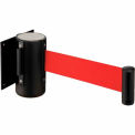 "Black Wall Mount 79"" Red Retractable Belt Barrier With Receiver"