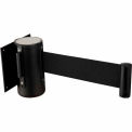 "Black Wall Mount 79"" Black Retractable Belt Barrier With Receiver"