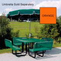 "46"" Square Table with Bench Seats, In-Ground Mount - Orange"