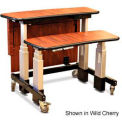 "Dual Tier Cart™ Rectangular w/ Back Panel- Natural Pear 48""L x 36""W x 34""H"