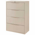 """Interion® 36"""" Premium Lateral File Cabinet 4 Drawer Putty"""
