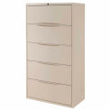 "Interion® 36"" Premium Lateral File Cabinet 5 Drawer Putty"