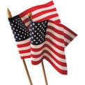 4 in. X 6 in. Cotton Muslin U.S. Flag Mounted on Back Staff with Gold Ball, 12 Pack