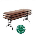 """Commercial Duty Folding Table, Adjustable Height 30"""" x 72"""" Walnut top"""
