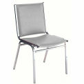 "Durable Multi-Purpose Armless Stack Chair - 2"" thick Seat Light Gray Vinyl"
