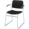 KFI Stack Chair with Arms and Sled Base - Black Fabric