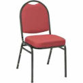 Heavy Duty Banquet Stacking Chair - Burgundy Fabric /Black Frame