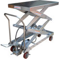 Stainless Steel Pneumatic-Hydraulic Mobile Scissor Lift Table 1500 Lb. Capacity