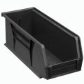Global Plastic Stacking Bin 4-1/8x10-7/8x4 - Black - Pkg Qty 12