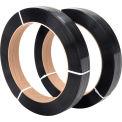 "Polyester Strapping 1/2"" x .020"" x 3,600' Black 16"" x 3"" Core - Pkg Qty 2"