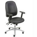 8 Way Adjustable High Back Leather Chair Black