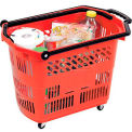Rolling Plastic Trolley Basket 8.7 Gallon, 33 Liter Red