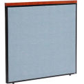 "48-1/4""W X 43-1/2""H Deluxe Office Partition Panel, Blue with Cherry Wood Accent"